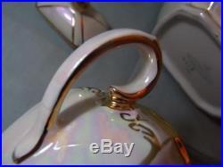 Vintage Sadler Pottery Cube Teapot Milk Jug & Sugar Bowl Cream Pearl/Lustre 2218
