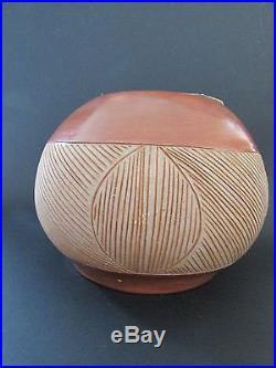 Vintage San Juan Pueblo Handbuilt Geometric Pottery Bowl by Rosita Cata 1967