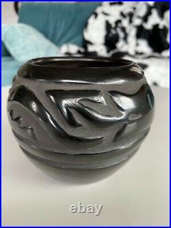 Vintage Santa Clara Pueblo Black Pottery Bowl 4 tall Signed Celes Tafoya