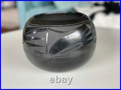 Vintage Santa Clara Pueblo Large 8.5 Black Pottery Bowl Signed