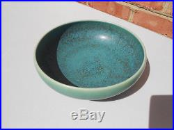 Vintage Saxbo Denmark Art Pottery Bowl Blue Green 7 3/8