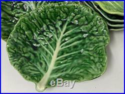 Vintage Secla Majolica Cabbage Leaf Salad Plate Set 8 Piece Portugal