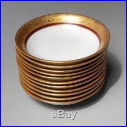 Vintage Set 12 Hutschenreuther Selb Bavaria Crimson & Gold Edge Coup Soup Bowls