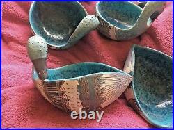 Vintage Set (6) Mid Century Italian Ceramic Ducks Aldo Londi For Bistossi Nice