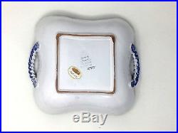 Vintage Set of 2 Italian Majolica Castelli Square Bowl withHandles Signed L. Pardi