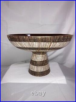 Vintage Seta Italian Art Pottery Aldo Londi Bitossi Compote Footed Bowl Brown