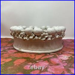 Vintage Signed BOURG JOLY MALICORNE France Faience with Bowl Sculpted Fruit Border