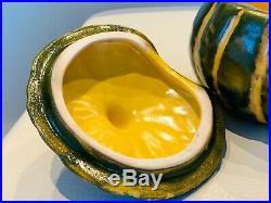 Vintage Signed Barbara Eigen 8 Hand-Crafted Pumpkin Soup Cream Lidded Bowls