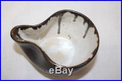 Vintage Signed EUGENE DEUTCH Art Pottery BROWN Glaze Sugar Bowl & Creamer Set