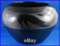 Vintage Signed Marie Black Pottery Bowl With Indian Motif