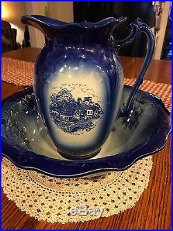 Vintage Staffordshire England Ironstone Blue Wash Bowl & Pitcher EUC