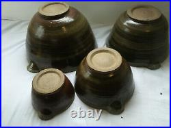 Vintage Stoneware Pottery Set 4 Graduated Pouring Bowl Handmade