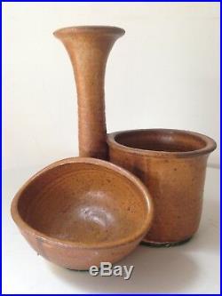 Vintage Studio Ceramic Pottery Bud Vase Bowl Trio Mid Century Modern Weedpot