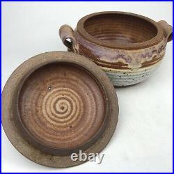 Vintage THOMAS REECE STUDIO POTTERY 11 Covered Bowl + Handle Lid Stoneware Pink