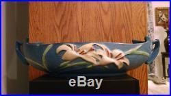 Vintage Teal Blue Roseville Pottery Zephyr Lily Centerpiece Bowl 479-14 C1946