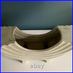 Vintage Toyo Ikebana Mid Century Modern Pottery Vase Sculpture Bowl Japan