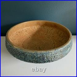 Vintage Toyo Ikebana Mid Century Modern Pottery Vase Sculpture Bowl Japan Blue
