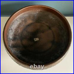 Vintage Toyo Ikebana Mid Century Modern Pottery Vase Sculpture Bowl Japan Brown