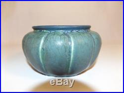 Vintage UNKNOWN ART POTTERY small JARDINIERE bowl melon shaped Blues Greens