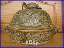 Vintage Unusual Studio Pottery Lidded Bowl Dish Bird Chicken Eating Snake Signed