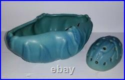 Vintage VAN BRIGGLE Art Pottery Tulip Bowl Vase Turquoise Blue With Flower Frog
