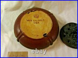 Vintage Van Briggle Pottery Mulberry Bowl dragonfly & with 3 frog flower frog