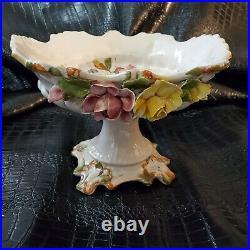Vintage Vecchia Bassano Porcelain Floral Italy Footed Centerpiece Capodimonte