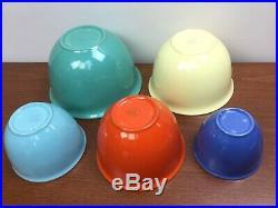 Vintage Vernon Kilns 5 Nested Mixing Bowls USA Early California Vernonware