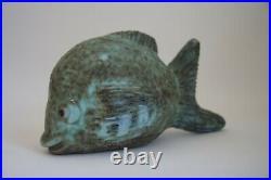 Vintage Very Old McCarty Fat Fish Pottery Mississippi Jade Cobalt