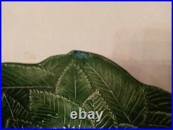 Vintage Vietri Foglia Leaf Majolica CERAMICHE LEONARDO Platter & Bowls Set