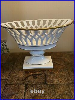 Vintage Vista Alegre Large Oval Centerpiece /Compote Bowl Reticulated Pedestal