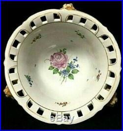 Vintage Von Schierholz Footed Cherub Putti Flower Porcelain Centerpiece Bowl