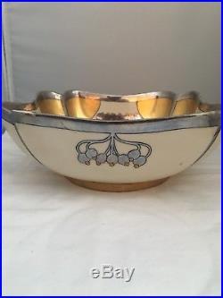 Vintage W A Pickard Hand Painted Aura Argenta Linear Bowl
