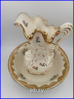 Vintage Wash Basin Bowl and Floral Pitcher Creamy white with Gold Rim and Roses