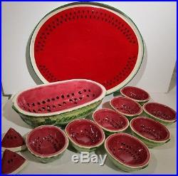 Vintage Watermelon Serving SET of 12 Bowls Tray Salt & Pepper Fruit Melon Dish