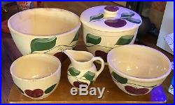 Vintage Watt Apple Nesting Bowls. Watt Pottery Oven Ware Creamer And Cookie jar