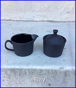Vintage Wedgwood Basalt Black Jasperware Creamer and Sugar Bowl with Lid
