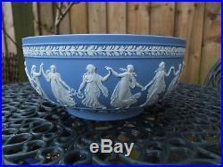 Vintage Wedgwood Blue Jasperware Large Bowl The Dancing Hours C1994