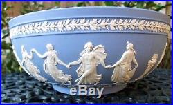 Vintage Wedgwood Large Blue Jasperware Bowl The Dancing Hours C1957