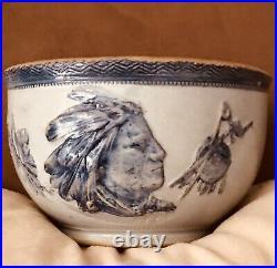 Vintage Weir Pottery Sleepy Eye Indian Head Crock Bowl