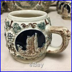 Vintage Wekara Ww German Stoneware Pottery Soup Tureen Punch Bowl Stein Set