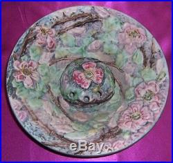 Vintage Weller Art Pottery Large Bowl & Frog Silvertone Pattern Signed