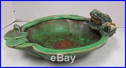 Vintage Weller Pottery Coppertone 6.5 Figural Frog Ashtray or Bowl