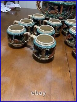 Vintage West German Stoneware Hunting Scene Punch Bowls Wine/beer Tureen 10 Mugs