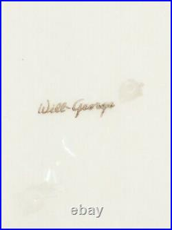 Vintage Will George Flamingo Pond, low flower bowl, signed