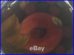 Vintage William Moorcroft Pomegranate 5.5 Cobalt Blue Floral Bowl Art Pottery