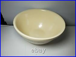Vintage XL 14 Mixing Bowl McCoy Pink & Blue Stripes USA Oven Ware Yellow Ware