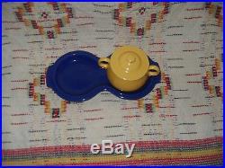 Vintage Yellow Fiesta Individual Sugar Bowl, Lid&figure 8 Tray -fiestaware