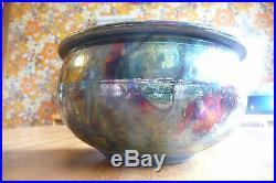 Vintage gun metal RAKU pottery vessel with lid, listed artist Tammerlaine Burwell