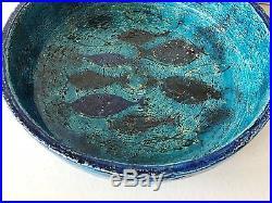 Vintage mid century Bitossi Rimini blu fish pesce bowl Aldo Londi Italy pottery